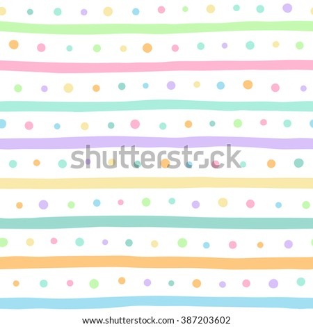 Uneven multicolored stripes and dots vector seamless pattern. Free hand drawn colorful bars and round spots on white background. Abstract colourful streaks and dots texture. - stock vector