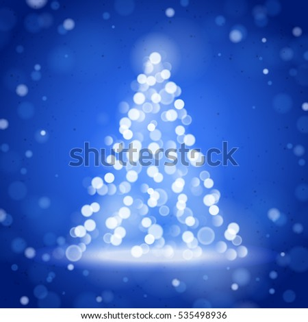 Unfocused Blurred Lights and Christmas Tree on the Blue Square Background