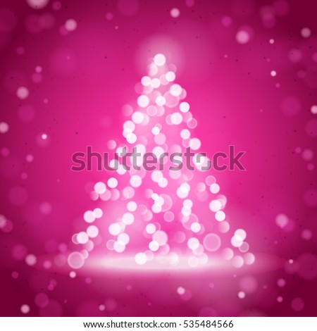 Unfocused Blurred Lights and Christmas Tree on the Pink Square Background