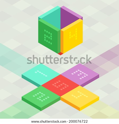Unfolding orthographic cube shape as a set of infographic vector elements