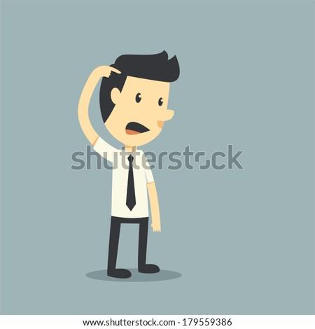 Unhappy businessman - stock vector
