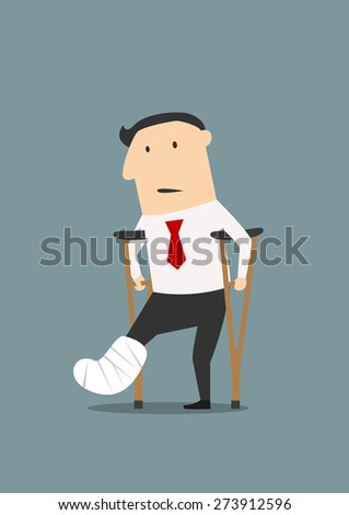 Unhappy injured cartoon businessman standing with crutches and showing cast on a broken leg for health insurance or rehabilitation concept design - stock vector