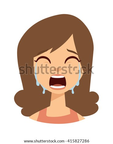 Unhappy woman crying vector. Woman crying sadness girl and cute woman crying face. Face depressed portrait woman crying and woman crying expression frustration tears eyes problem emotion. - stock vector