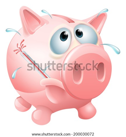 Unhealthy finances concept of an unwell piggy bank sweating with a fever and causing a thermometer to burst - stock vector