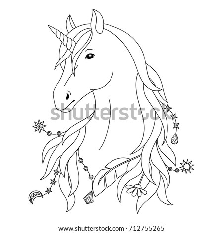 Unicorn Black And White Tattoo Coloring Page