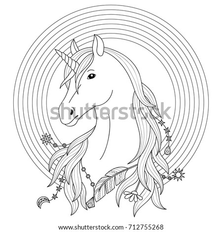 unicorn black and white tattoo with rainbow coloring page