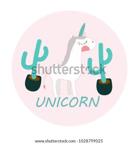 unicorn, cute doodle