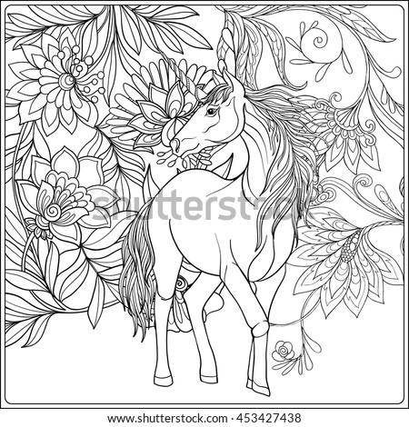 Unicorn Magical Garden Vintage Decorative Floral Stock