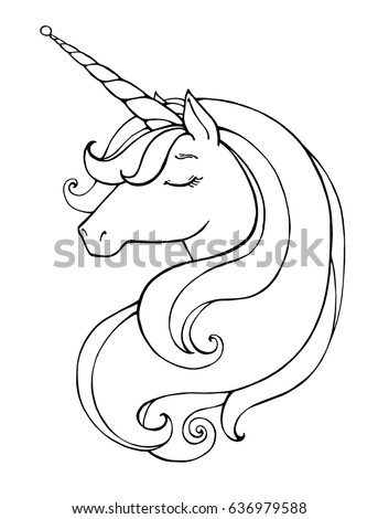 Unicorn Magical Animal Vector Artwork Black Stock Vector