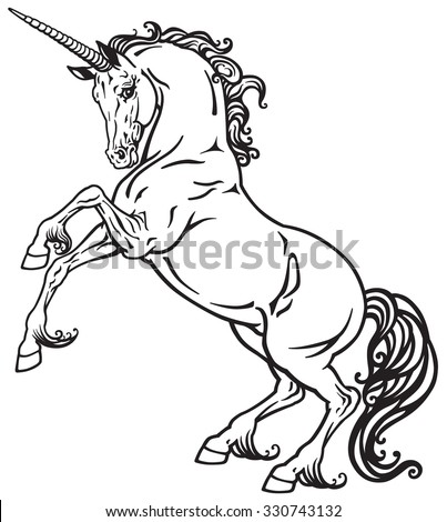 unicorn mythological horse , black and white tattoo image