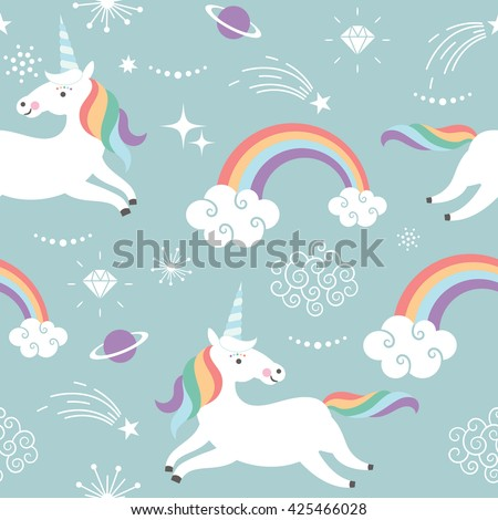 Unicorn pattern art print stock vector 425466028 for Space unicorn fabric