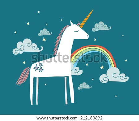 unicorn/rainbow vector/illustration - stock vector