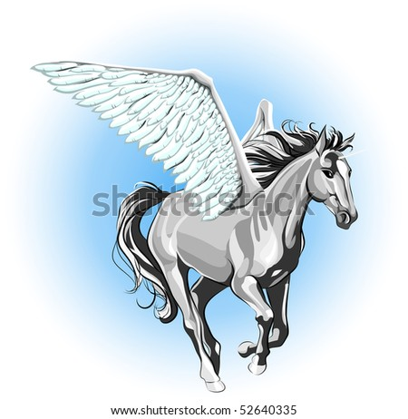Unicorn running - stock vector
