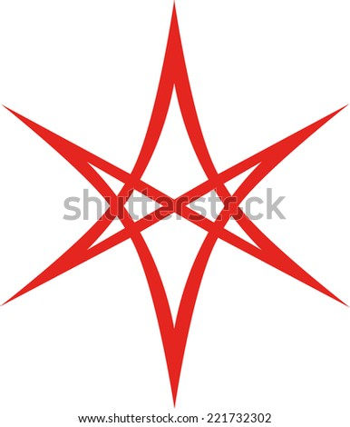 Unicursal Hexagram, Tattoo Style - stock vector