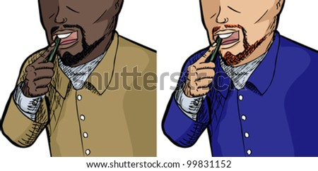 Unidentifiable men brushing teeth isolated over white background - stock vector