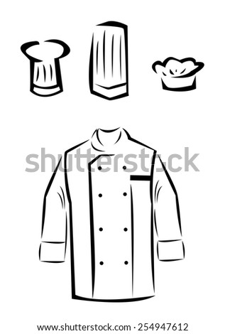 Uniform of a Master Chef Cook or Culinary Student. Sign or Symbol for Food Industry. Vector Illustration EPS10 and raster jpg Outline Artwork.  - stock vector