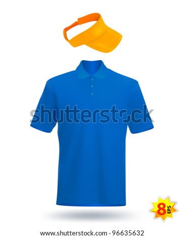 Uniform template: blue t-shirt and yellow visor. - stock vector
