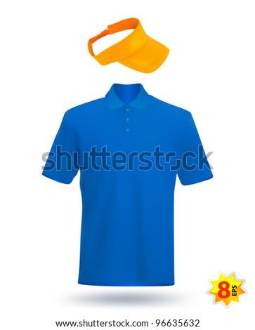 Uniform template: blue t-shirt and yellow visor. - stock vector