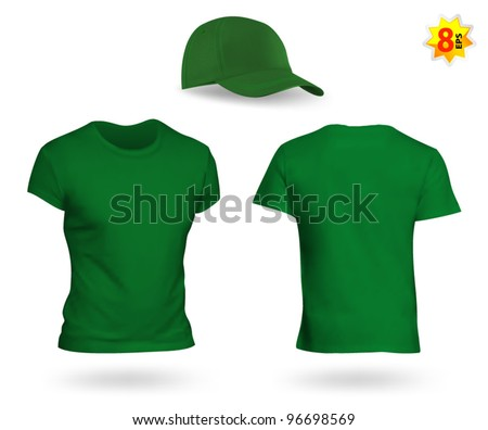 Uniform template set: green t-shirt and a cap - stock vector
