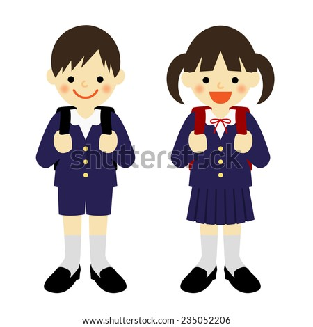Uniformed elementary school boy and school girl / Vector EPS 10 illustration - stock vector