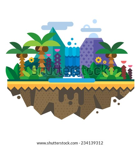Uninhabited island, jungle. Tropical landscape with a waterfall and palm trees. Vector flat illustration - stock vector