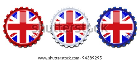 Union Jack  bottle caps.  Condensation drops on separate layer for easy editing. EPS10 vector format. - stock vector