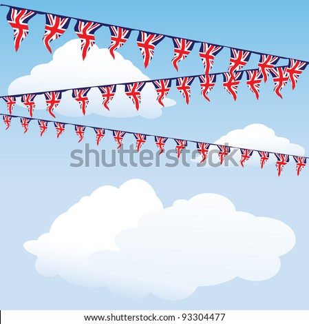 Union Jack bunting on cloud background with space for your text. Perfect for the Royal birth celebrations. EPS10 vector format - stock vector