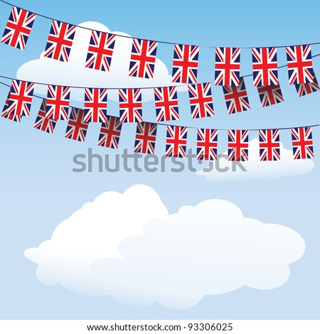 Union Jack bunting on cloud background with space for your text. Suitable for Royal Baby birth celebrations.  EPS10 vector format - stock vector