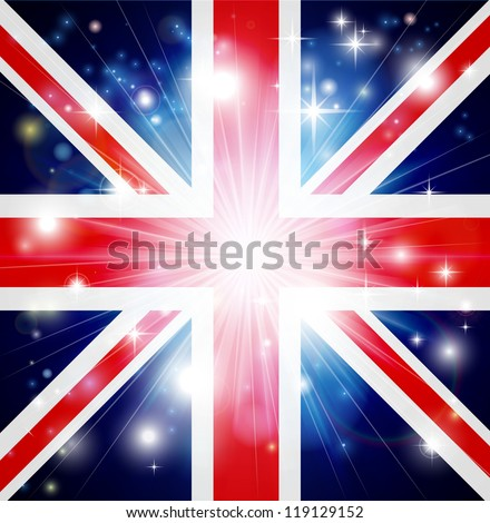 Union Jack flag of United Kingdom background with pyrotechnic or light burst and copy space in the centre - stock vector