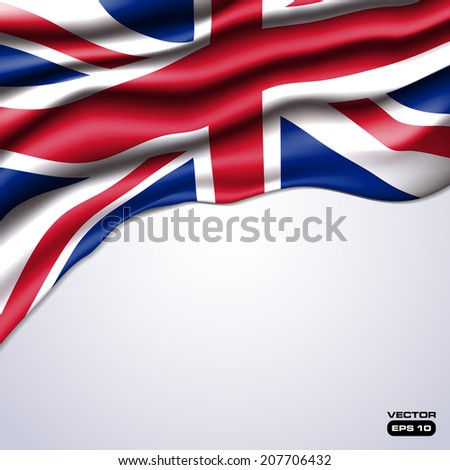 union jack flag realistic design in vector format - stock vector