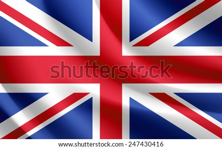Union Jack Flag waving realistic fabric effect in vector format - stock vector