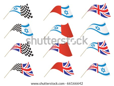 Union Jack, Israel and Checkered Flag, editable illustration Vector.  Re-sizeable to any size. - stock vector