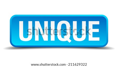 Unique blue 3d realistic square isolated button - stock vector