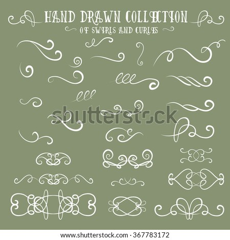 Unique collection of hand drawn swirls and curles. Unique romantic design element for wedding cards, in invitations and save the date cards. - stock vector
