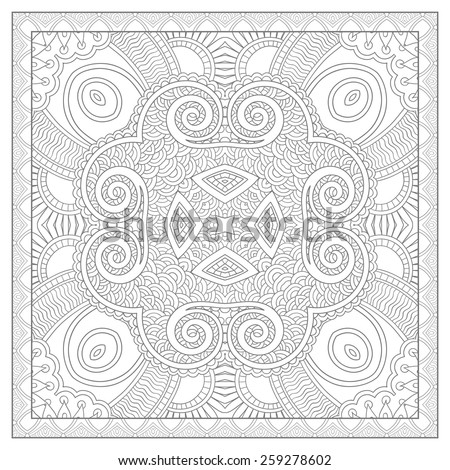 unique coloring book square page for adults - ethnic floral carpet design, joy to older children and adult colorists, who like line art and creation, vector illustration - stock vector