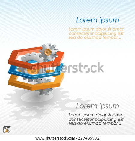 Unique concept for technology background; Cogwheels framed by three dimensions hexagon. Abstract background for office and business, wallpaper, poster, template for designers.  - stock vector