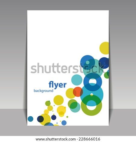 Unique Flyer or Cover Design with Colorful Dots, Rings, Bubbles - stock vector