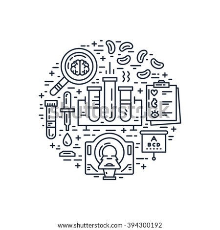 Unique line style vector illustration with different medical machines and gear. Medicine and chemical engineering. Healthcare poster or banner template. - stock vector
