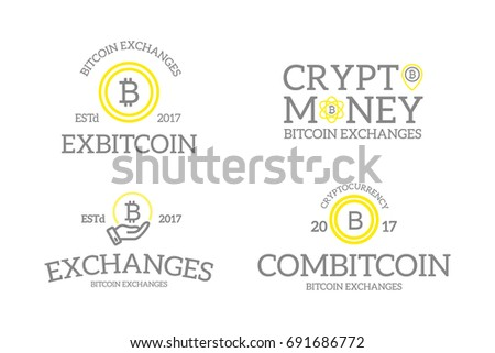 Unique Retro Vintage Digital Money And Bitcoin Cryptocurrency Logos Or Insignias Emblems Labels