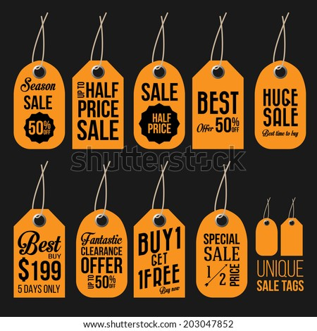 Unique Sale Tags  - stock vector