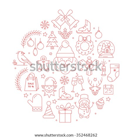 Unique vector concept with different christmas and new year celebration elements. Clean and easy to edit. Unique illustration for t-shirts, banners, flyers and other types of business design. - stock vector