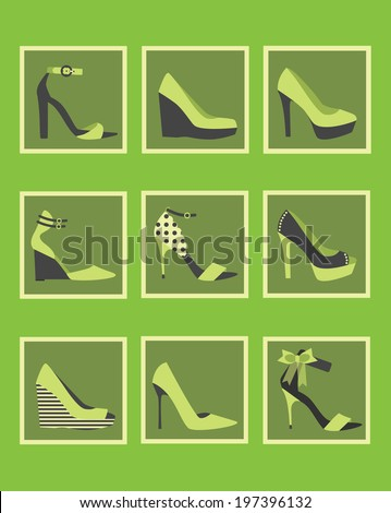 Unique women shoes square icons - Cute and different high heels in