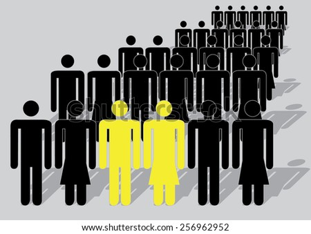 Unique yellow couple that can be used in statistics  - stock vector