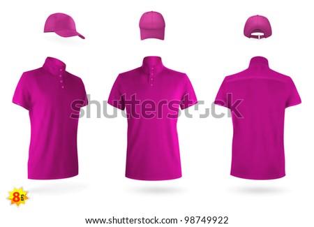 Unisex uniform template set: polo shirt and baseball cap. - stock vector