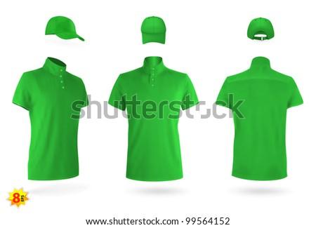 Unisex uniform template set: polo shirts and baseball cap. - stock vector