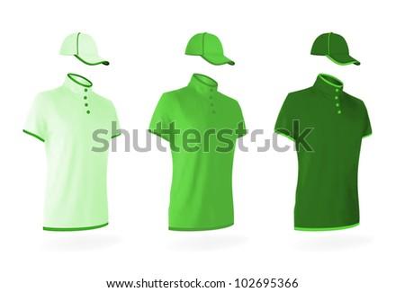 Unisex uniform template set: polo shirts and baseball hats. - stock vector