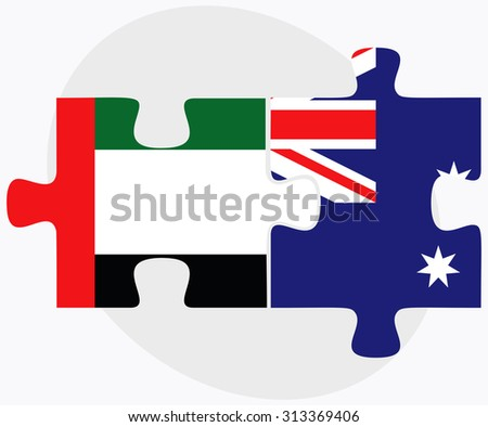 United Arab Emirates and Australia Flags in puzzle  isolated on white background - stock vector