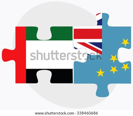 United Arab Emirates and Tuvalu Flags in puzzle isolated on white background