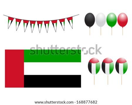 United Arab Emirates flag colors, celebration balloons. - stock vector