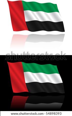 United Arab Emirates Flag Flowing - stock vector